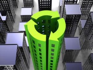 דמוי בניין משרדים ירוק